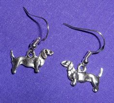 DACHSHUND DOG EARRINGS - Pewter with Sterling Silver Ear Wires - DOXY WIENER DOG #Handmade #DropDangle