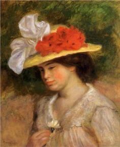 """Pierre-Auguste Renoir - Woman in a Flowered Hat (1899): private collection, oil. """"Donna con cappello di fiori"""": impressionismo."""