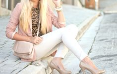 nude - nude pink - white - and a splash of leopard