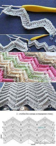 Confection au crochet Hair Style Image style and image hair products Punto Zig Zag Crochet, Crochet Ripple, Crochet Chart, Crochet Squares, Crochet Motif, Diy Crochet, Crochet Baby, Manta Crochet, Crochet Stitches Patterns