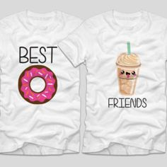 Best Friends Frappe  O gogoasa si o cafea merg cel mai bine impreuna. Fiind vara, insa, ne-am gandit ca un frappe poate fi… de sezon.  Daca tu si cea mai buna prietena vreti sa aveti tricouri personalizate, cu mesaje haioase, ai ajuns unde trebuie! Bff, Best Friends, Mens Tops, T Shirt, Fashion, Beast, Needlepoint, Beat Friends, Supreme T Shirt