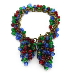 Vintage 1940s French Colourful Glass Cluster Bracelet | Clarice Jewellery