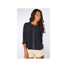 Free People The Geek Rock Top in Navy ($49) ❤ liked on Polyvore