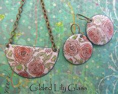 Pink Heirloom Rose Enamel Crescent Pendant, Copper Enamel Jewelry handmade in North Carolina http://etsy.me/2CW5O65