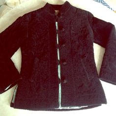 """Anthropologie Fei Asian style jacket Black quilted pattern. 100% cotton, but feels more like velvet. Mandarin buttons down front. Pockets. Side vents. Fully lined. 21.5"""" in length. 17"""" bust laying flat. Worn very gently. In great condition. Anthropologie Jackets & Coats"""