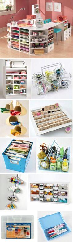 'Craft Storage Ideas on a Budget...!' (via HubPages) Storage For Craft Room, Craft Room Organizing, Craftroom Storage Ideas, Craft Room Desk, Organization For Room, Organized Craft Rooms, Diy Storage Desk, Organizing Ideas For Office, Diy Crafts Desk