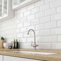 Bevelled White Gloss Subway Tile 75x150mm