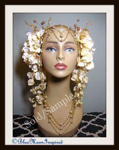 Headpiece Headdress Cream Flowers Fairy by BlueMoonInspired13