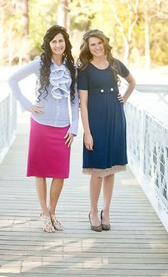 Astara: Womens modest striped ruffle blouse available in navy and pink. - Apostolic Clothing
