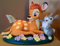 Bambi and Thumper - Deer and Rabbit Crazy Cakes, Fancy Cakes, Cute Cakes, Fondant Figures, Fondant Cakes, Cupcake Cakes, 3d Cakes, Kreative Desserts, Deco Disney