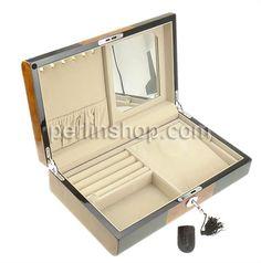 Kosmetikkasten, Holz, mit Baumwollsamt & Glas & Zinklegierung, Rechteck, Platinfarbe platiniert, schwarz, frei von Nickel, Blei & Kadmium