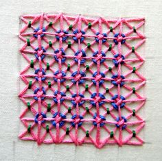 Lattice Filling used between the flowers and make design for various mats, designer towels, covers etc.