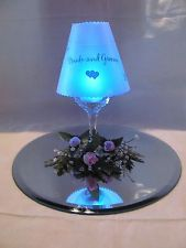 24 wine glass shades by david tutera vellum swirl wedding for Wine glass lamp centerpiece