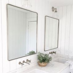 Sundays are made for lounging and we could not think of a better place to relax in than this beautiful bathroom from featuring our Vintage Large Mirror. Wall Mounted Bathroom Sinks, Bathroom Sink Faucets, Bathroom Wall Decor, Small Bathroom, Master Bathroom, Bathroom Ideas, Downstairs Bathroom, Bathroom Inspo, Bathroom Designs