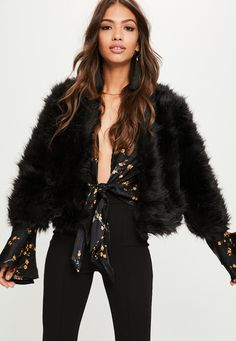Missguided - Black Short Fluffy Faux Fur Jacket