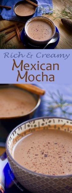 Is there anything more comforting during the cold dark winter months than a warm cup of hot chocolate? I also love a good cup of coffee, and if we can kick that up a notch or two with some Mexican flavors, and toss that all together to get a lovely warm c Mexican Drinks, Mexican Dishes, Mexican Food Recipes, Mexican Snacks, Mexican Brunch, Mexican Breakfast, Champurrado, Yummy Drinks, Yummy Food