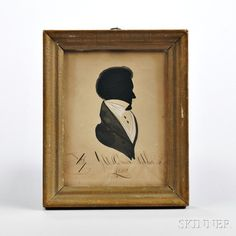Hollow-cut and Watercolor Silhouette of a Man