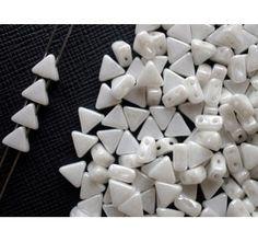 50pcs Khéops® par Puca® 6mm 2-hole Czech Glass Pressed Beads Opaque White Ceramic Look