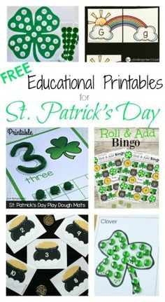 10 FREE Printable Educational Activities for St. Patrick's Day Collage 1
