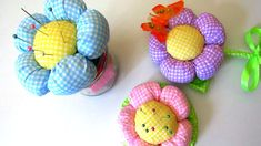 How to Make Simple Fabric Flower - 3 DIY Ideas - Pincushion Jar, Topiary...