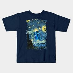 Soaring Blue Phone box starry night oil Kids T-shirt #teepublic #tee #tshirt #clothing #kid #kidtshirt #tardis #doctorwho #starrynight #vangogh #screamingman #flying #phonebooth