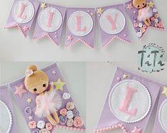 Personalized felt baby pennant banner name, Ballerina theme, Ballerina Nursery, . Baby Banners, Pennant Banners, Felt Garland, Felt Ornaments, Felt Bunting, Handmade Crafts, Diy And Crafts, Ballerina Nursery, Baby Ballerina