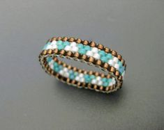 Peyote Ring / Seed Bead Ring in White and Blue / by MadeByKatarina