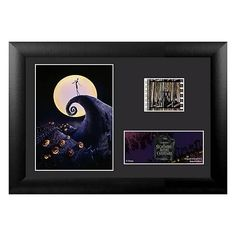 This Nightmare Before Christmas Film Cell artwork contains a 35mm film cell which varies in each piece since they are hand selected from reels of film. It measures 5 1/2 inches tall x 7 1/2 inches wide, is framed in black, and includes a certificate of authenticity. #nesteduniverse