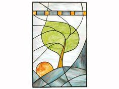 Vitrail panneau moderne arbre bleu vitrail fenêtre Panneau fait main OOAK - Sunrise venteux