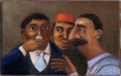 Les buveurs - huile sur toile 14 x 22 cm