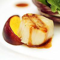 Warm Peach & Grilled Scallops, Radicchio Leaves & Wild Rocket, Crustacean Dressing. Tartufo, London. Grilled Scallops, Baked Potato, Restaurants, Dressing, Peach, Leaves, Warm, London, Baking