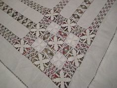 Antique c1900 White Drawn Thread Worked Tablecloth  by StarPower99, $38.00