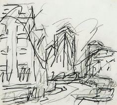Frank Auerbach Untitled (landscape) black felt tip pen over black chalk on paper 8 x 9 in., 21 x cm Landscape Drawings, Abstract Drawings, Colorful Drawings, Art Drawings, Contour Drawings, Drawing Faces, Sketchbook Drawings, Frank Auerbach, Scribble Art