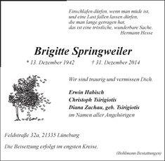 Brigitte Springweiler, Traueranzeige, LZ, Gedenkkerzen, Kondolenzen, Fotos - Brigitte-Springweiler#/Trauerfall