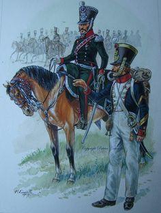 Comandante di squadrone del 25 rgt. cacciatori a cavallo e sergente maggiore del 112 rgt. fanteria di linea