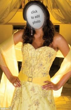 bride in yellow. Add your face to see how your skin tone does with a yellow wedding dress. Click on the photo and it will take you through to imikimi.com, a free photo frame website with lots of wedding dress pics.  #wedding #yellow #dress #accentcolor