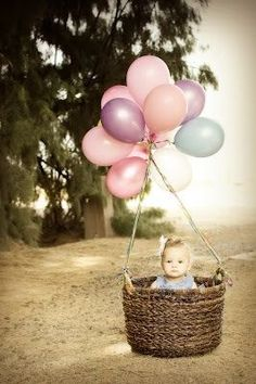 How cute is this Baby in the Balloon Basket!.. Love this!.. INVITE IDEA or first birthday photo #Stuffed Animals