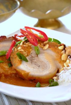 Sweet Asian-Style Pork, roasted in a Cook-In-Bag. A great dinner party dish! Pork Belly Recipes, Meat Recipes, Dinner Recipes, Cooking Recipes, Posh Nosh, Braised Pork Belly, Pork Dishes, Asian Style, Food And Drink