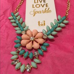 "Floral Minty Necklace An extravagant mix of colors and design T&J designs has done it once again. A beautiful statement necklace that makes any outfit shine.  18k gold plated base metals  Glass crystals Nickel and lead free Length extends to 20"" T&J Designs Jewelry Necklaces"