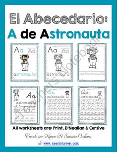 "Spanish Alphabet Handwriting Practice & Posters: ""A de Astronauta"" Boy from KarenSaravia on TeachersNotebook.com -  (18 pages)  - Spanish Alphabet Handwriting Practice & Posters: ""A de Astronauta"" Boy"