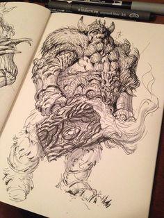Inktober - Materiais, técnicas, inspirações e a importância de desenhar a caneta — Brushwork Atelier. Artista: Cesar Rosolino