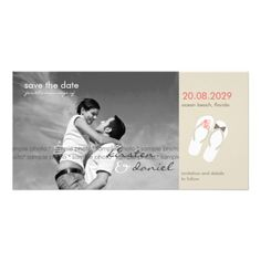Beach Pink Flip Flops Save The Date Announcement Personalized Photo Card