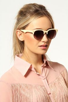Laura Half Frame Sunglasses at boohoo.com