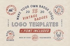 INTRODUCING Vintage Badge Templates by HOUS Inspired by vintage graphic and handdrawn vibe, you will get: - Ai Vintage Badges with editable text - EPS Badge Template, Logo Templates, Design Templates, Fancy Fonts, Cool Fonts, Cheap Logo, Font Packs, Badge Design, Find Logo