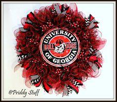 Georgia Bulldog Wreath College Wreath Football by PriddyStuff