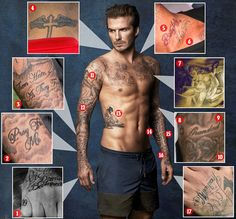 A work of art: MailOnline takes a look at how his love of body art has grown over the past few decades and what each tattoo means to him…