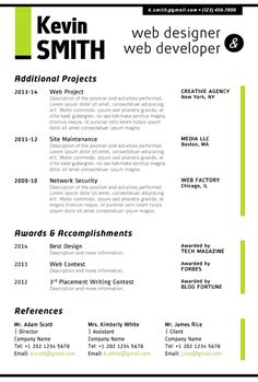 Image result for jr web developer resume Resumes Pinterest Web
