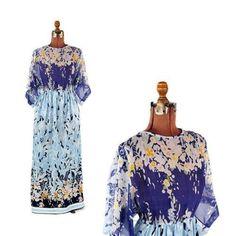 Vintage 70s Victor Costa Sheer Watercolor Floral Boho Kimono Sleeve Hippie Dress #VictorCosta #Maxi #Casual