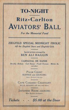 Military & Patriotic:WWI, WWI Era Ritz-Carlton Aviators Ball Memorial Fund Poster, including the Ziegfeld Follies.