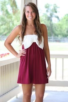 Bow Dash Dress- Maroon